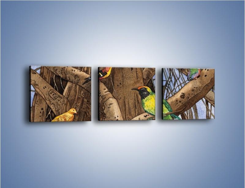 Obraz na płótnie – Mali przyjaciele na drzewie – trzyczęściowy GR050W1