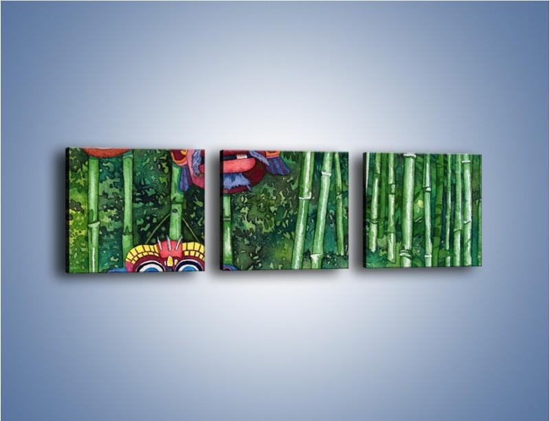 Obraz na płótnie – Maski dzikiego plemienia – trzyczęściowy GR051W1