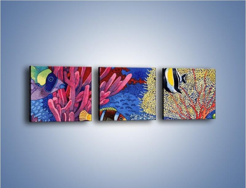 Obraz na płótnie – Podwodny świat ryb – trzyczęściowy GR056W1