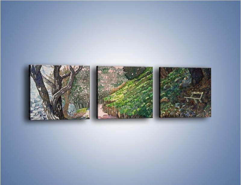Obraz na płótnie – Krętą ścieżką w stronę domu – trzyczęściowy GR058W1