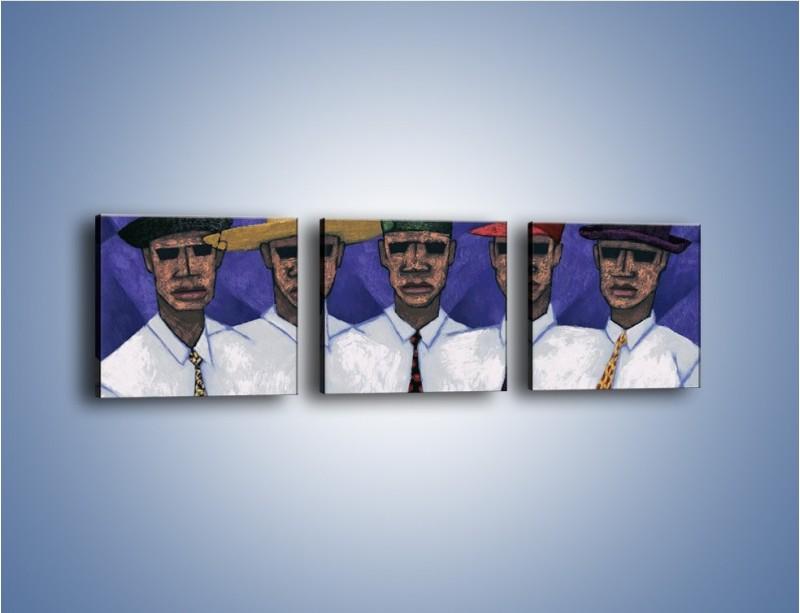 Obraz na płótnie – Nakrycia głowy i kolorowe krawaty – trzyczęściowy GR083W1