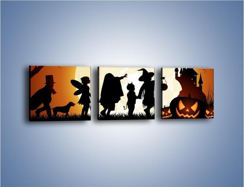 Obraz na płótnie – Mali bohaterowie w halloween – trzyczęściowy GR234W1