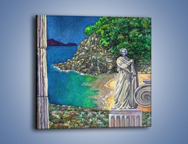 Obraz na płótnie – Marmurowe rzeźby z widokiem na wodę – jednoczęściowy kwadratowy GR048