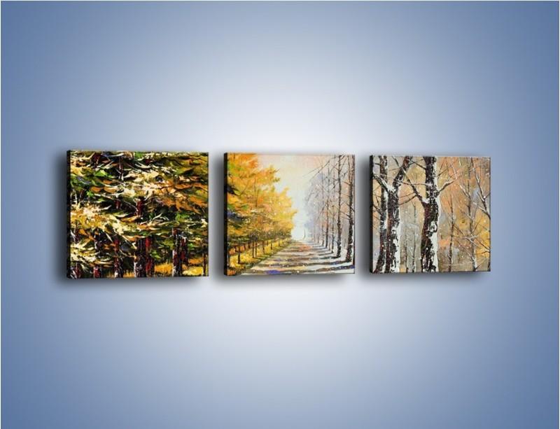 Obraz na płótnie – Trochę jesieni trochę zimy – trzyczęściowy GR292W1