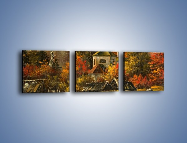 Obraz na płótnie – Kaplica późną jesienią – trzyczęściowy GR369W1