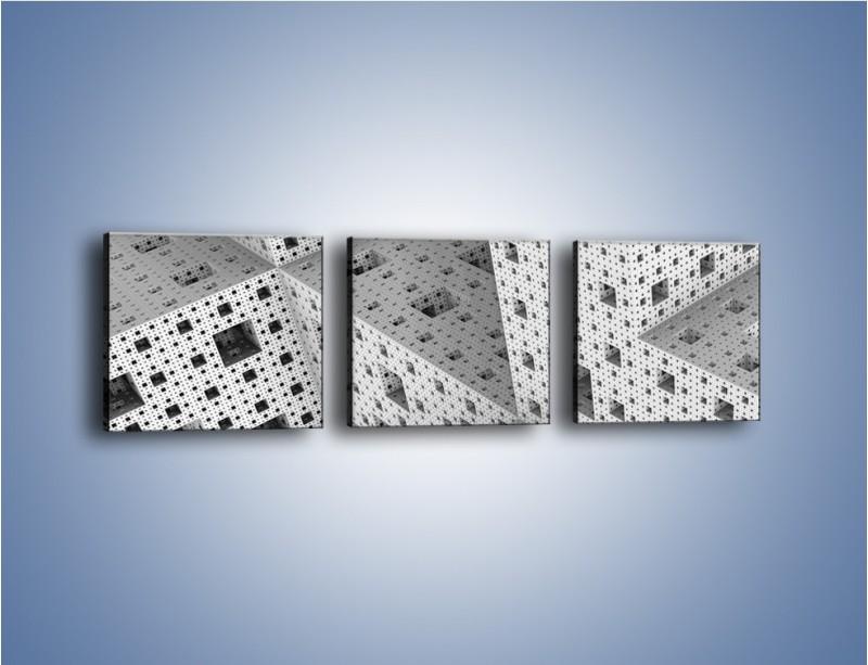 Obraz na płótnie – Budynki z klocków – trzyczęściowy GR410W1