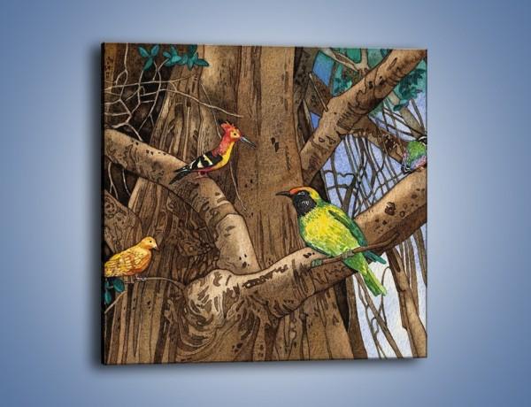 Obraz na płótnie – Mali przyjaciele na drzewie – jednoczęściowy kwadratowy GR050