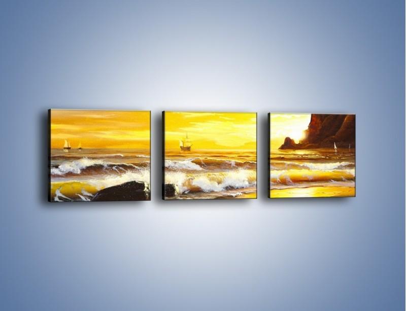 Obraz na płótnie – Morski krajobraz w zachodzącym słońcu – trzyczęściowy GR476W1