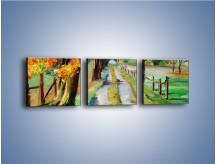 Obraz na płótnie – Aleją wśród drzew – trzyczęściowy GR487W1