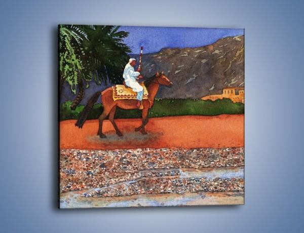 Obraz na płótnie – Arabski szejk na koniu – jednoczęściowy kwadratowy GR052