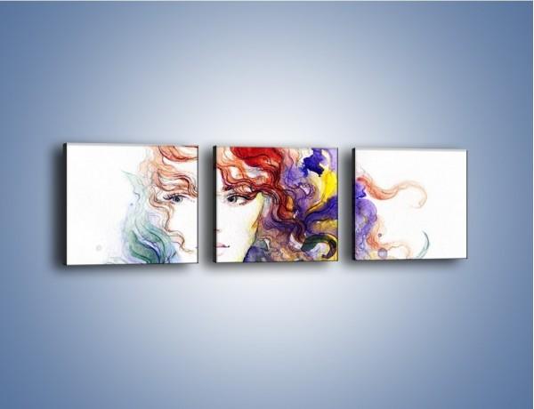 Obraz na płótnie – Kolory we włosach – trzyczęściowy GR513W1