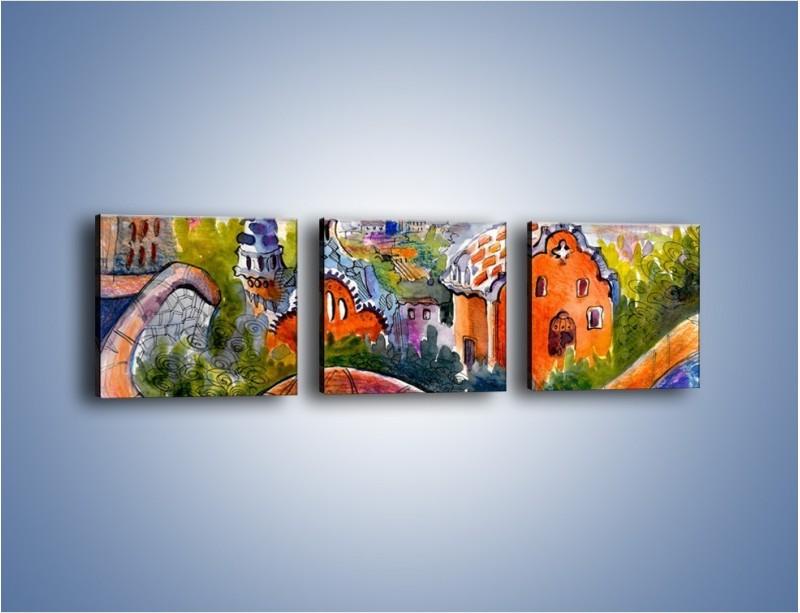 Obraz na płótnie – Zawijasy wokół domów – trzyczęściowy GR538W1