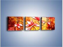 Obraz na płótnie – Kwiaty i ogień – trzyczęściowy GR565W1