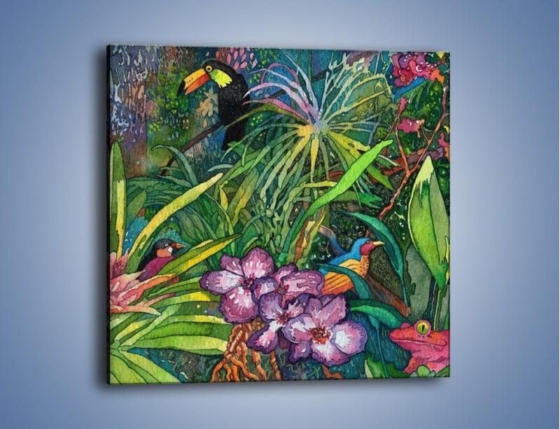 Obraz na płótnie – Ptaszki wśród kwiatów – jednoczęściowy kwadratowy GR054