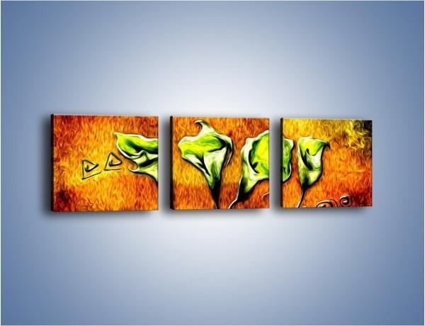 Obraz na płótnie – Zielone kalie w ogniu – trzyczęściowy GR635W1