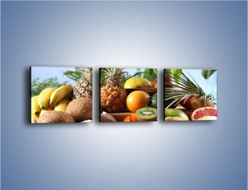 Obraz na płótnie – Mix owocowy na drewnianym stole – trzyczęściowy JN009W1