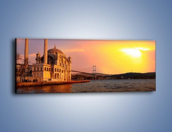 Obraz na płótnie – Meczet w blasku zachodzącego słońca – jednoczęściowy panoramiczny AM655