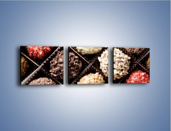 Obraz na płótnie – Kolorowy mix pralin – trzyczęściowy JN019W1