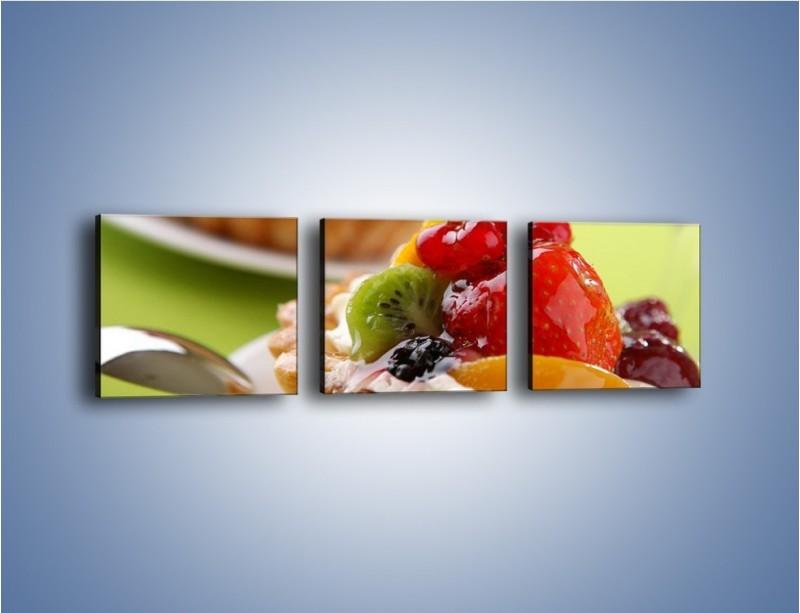 Obraz na płótnie – Owocowe babeczki z kremem – trzyczęściowy JN021W1