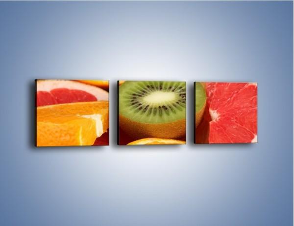 Obraz na płótnie – Kolorowe połówki owoców – trzyczęściowy JN026W1