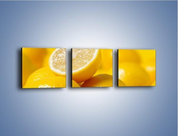 Obraz na płótnie – Kwaśne soczyste cytrynki – trzyczęściowy JN031W1