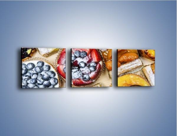 Obraz na płótnie – Kolorowe wypieki z dodatkiem owoców – trzyczęściowy JN032W1