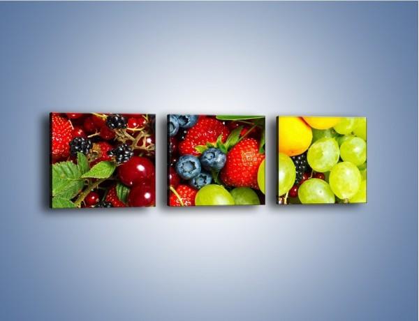 Obraz na płótnie – Wymieszane kolorowe owoce – trzyczęściowy JN037W1
