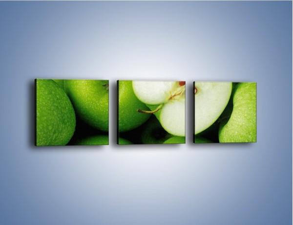 Obraz na płótnie – Zielone jabłuszka – trzyczęściowy JN039W1