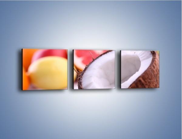 Obraz na płótnie – Kokosowo-owocowy mix  – trzyczęściowy JN042W1