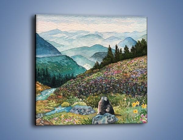 Obraz na płótnie – Z bobrem w stronę gór – jednoczęściowy kwadratowy GR055