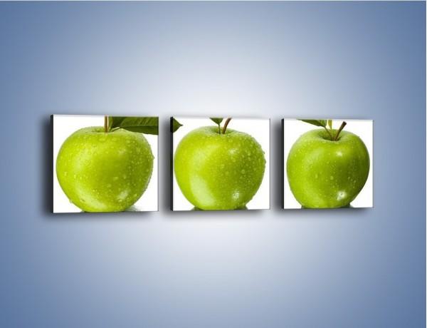Obraz na płótnie – Świeżo umyte zielone jabłka – trzyczęściowy JN047W1
