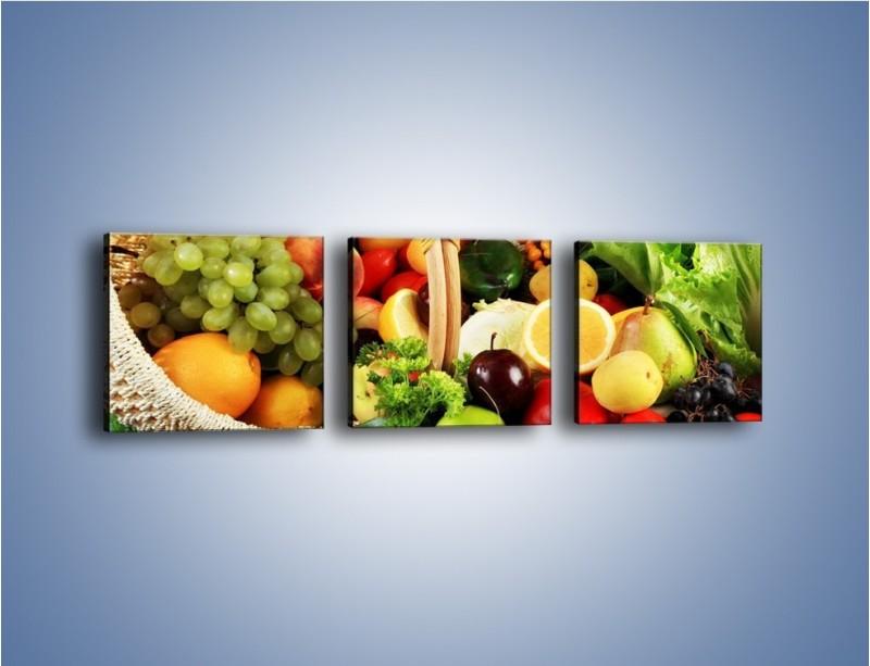 Obraz na płótnie – Kosz pełen owocowo-warzywnego zdrowia – trzyczęściowy JN059W1