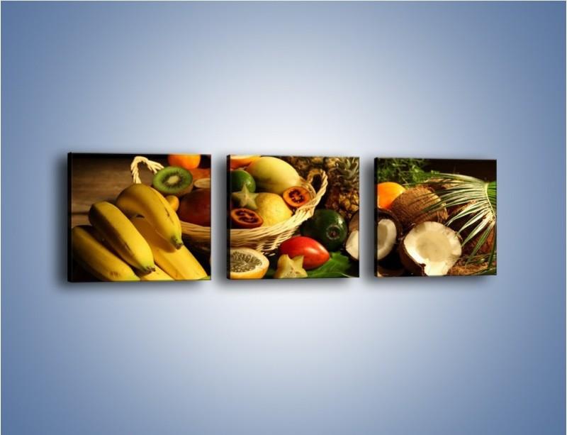 Obraz na płótnie – Kosz egzotycznych owoców – trzyczęściowy JN074W1