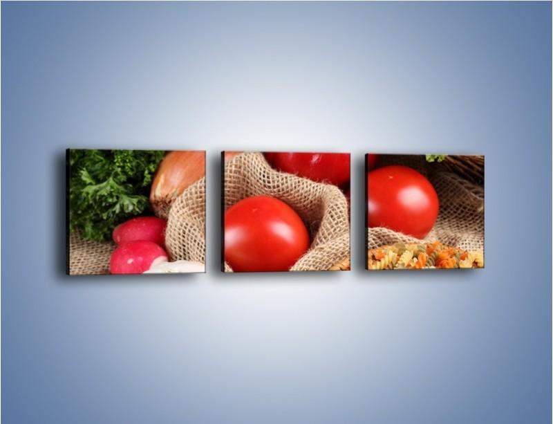 Obraz na płótnie – Makaron z warzywami – trzyczęściowy JN076W1