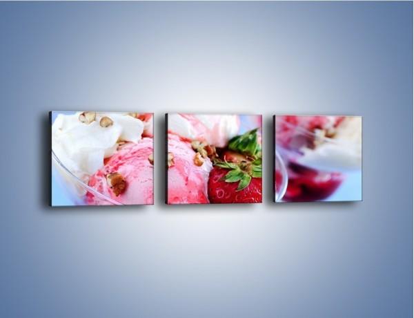 Obraz na płótnie – Śmietanowo-truskawkowa lodowa rozkosz – trzyczęściowy JN079W1