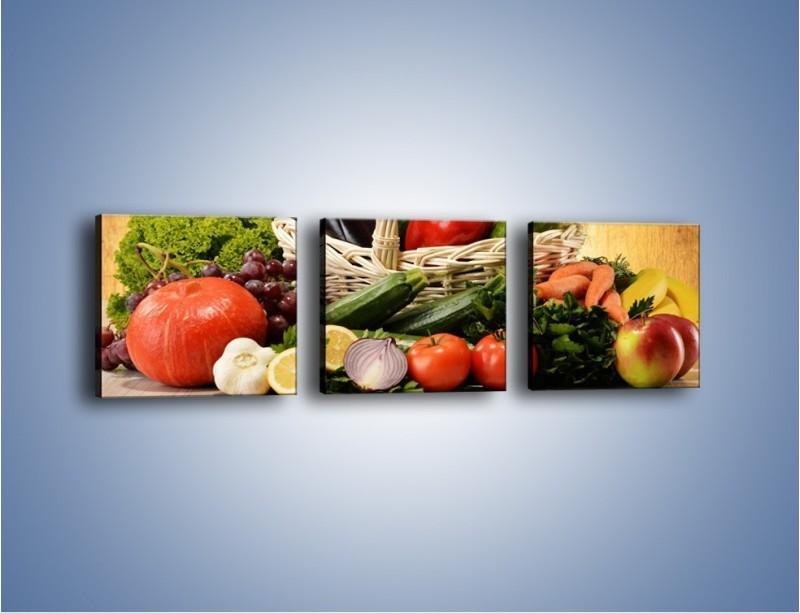 Obraz na płótnie – Kosz pełen warzywnych witamin – trzyczęściowy JN081W1