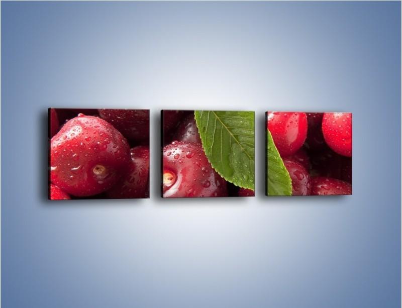 Obraz na płótnie – Świeżo umyte zebrane czereśnie – trzyczęściowy JN087W1