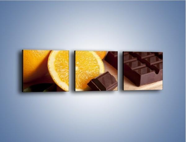 Obraz na płótnie – Czekoladowo-pomarańczowa rozkosz – trzyczęściowy JN094W1
