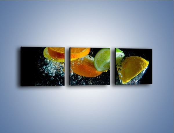Obraz na płótnie – Radośnie skąpane owocowe kawałki – trzyczęściowy JN099W1