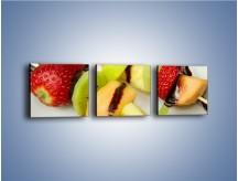 Obraz na płótnie – Czekoladowo-owocowe szaszłyki – trzyczęściowy JN112W1