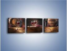 Obraz na płótnie – Beczuszki czerwonego wina – trzyczęściowy JN142W1