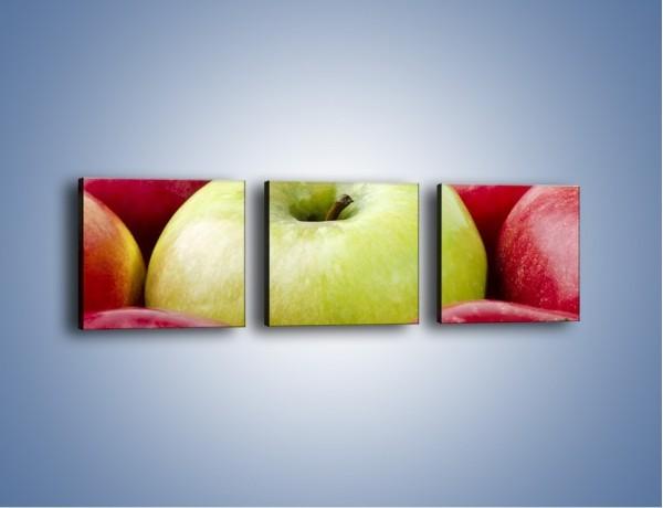 Obraz na płótnie – Zielone wśród czerwonych jabłek – trzyczęściowy JN155W1