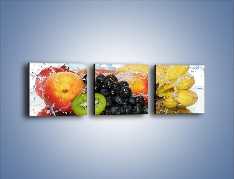 Obraz na płótnie – Owocowe nuty skąpane w wodzie – trzyczęściowy JN176W1
