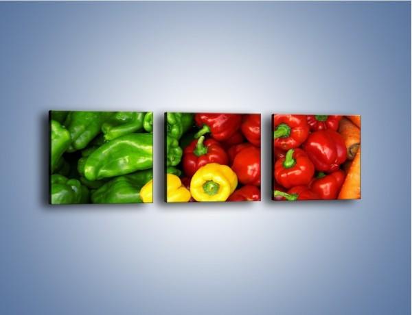Obraz na płótnie – Warzywne kolorowe kombinacje – trzyczęściowy JN192W1