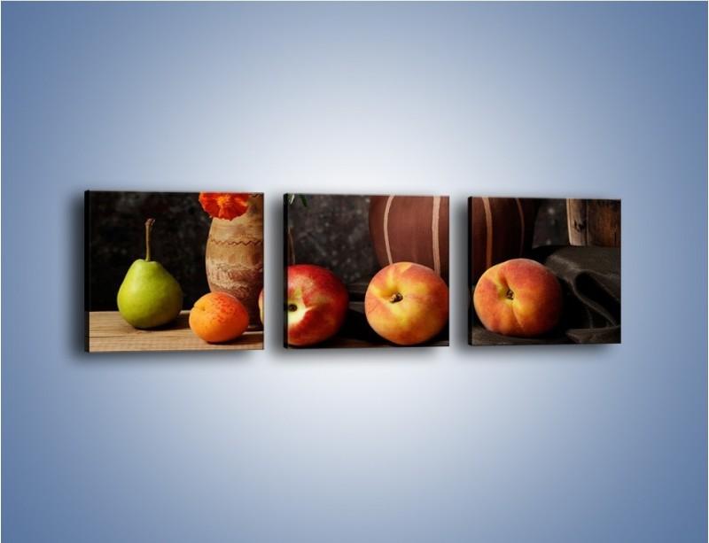 Obraz na płótnie – Kwiaty wśród owoców – trzyczęściowy JN280W1