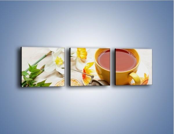 Obraz na płótnie – Herbata wśród żonkili – trzyczęściowy JN288W1