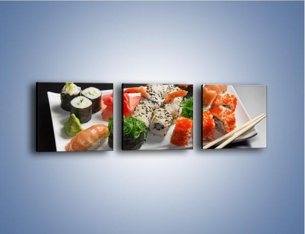 Obraz na płótnie – Kuchnia azjatycka na półmisku – trzyczęściowy JN295W1