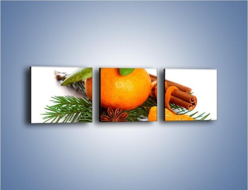 Obraz na płótnie – Pomarańcza na święta – trzyczęściowy JN306W1