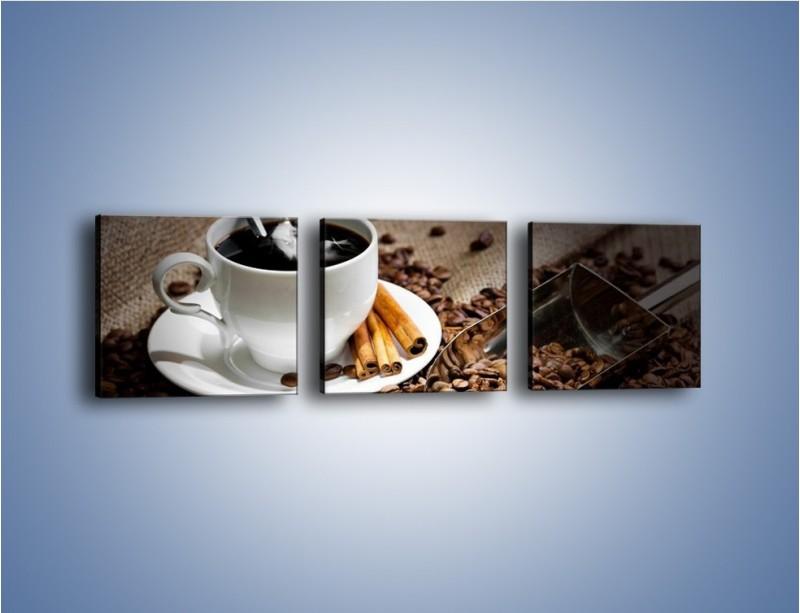 Obraz na płótnie – Czarna palona kawa – trzyczęściowy JN311W1