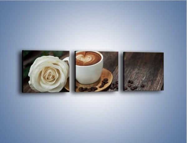 Obraz na płótnie – Kawa z różą – trzyczęściowy JN319W1